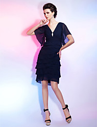 TS Couture Cocktail Party Homecoming Dress - Little Black Dress Sheath / Column V-neck Knee-length Chiffon with Crystal Brooch Ruching