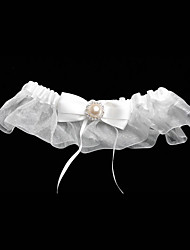 Satin Garter With Pearl And Organza Bow