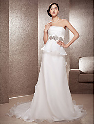 Lanting A-line Strapless Court Train Organza Wedding Dress With Tiered
