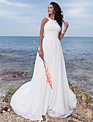 Lanting Bride A-line Petite / Plus Sizes Wedding Dress-Sweep/Brush Train Jewel Chiffon