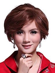 mono top curto castanho claro peruca de cabelo humano de 100%