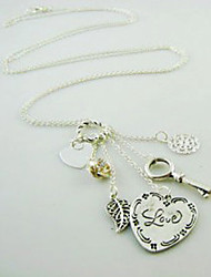 Heart and Key Charm Necklace