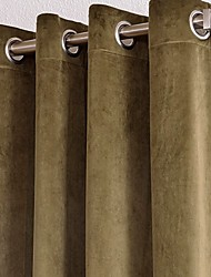 TWOPAGES® Cotton/Rayon Casual Solid Window Curtains DrapesTwo Panels