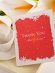 Thank You Card - Snow Flakes On Red (Set of 50)