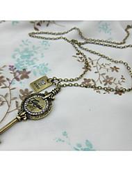 Vintage Plain Key Shape Necklace