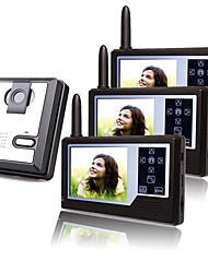 Three Wireless 3.5 Inch TFT Monitors Video Door Phone with Camera (Record,Photo)