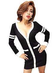 Sheath/Column V-neck Ribbon Sleeve Mini/Dress