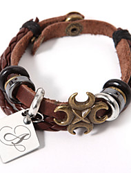Leather Bracelet With Personalized Diamond Charm