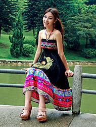 Halter Neck Cotton Maxi Dress In Black