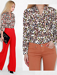 Mixed Flower and Chain Print Button-down Blouse