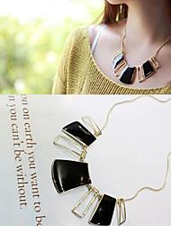 Vintage Geometrical Black Oil Drop Necklace