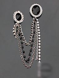 Sequin Inlaid Gem Chain Brooch