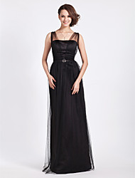 Lanting Floor-length Tulle Bridesmaid Dress - Black Plus Sizes / Petite Sheath/Column Straps