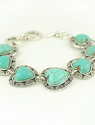 Turquoise And Silver Alloy Heart Charm Toggle Bracelet