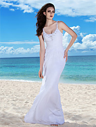 Lanting Sheath/Column Spaghetti Straps Floor-length Chiffon Wedding Gown