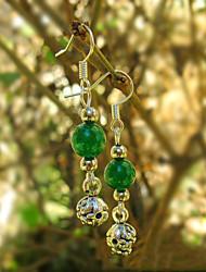 Green Agate Bead Drop Earrings