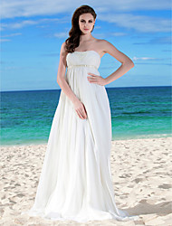 LAN TING BRIDE Sheath / Column Wedding Dress - Chic & Modern Vintage Inspired Floor-length Strapless Chiffon withBeading Ruche Sash /