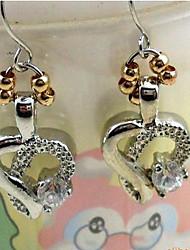 Gold Bead Crystal Heart Earrings