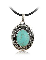 двойной бирюзовый овальной палубе и серебряное ожерелье кулон