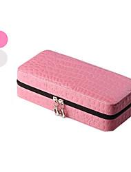 Schmuckbehälter Leder Weiß / Rosa