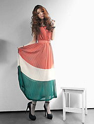 ramasser robe en mousseline de soie maxi (plus de couleurs)