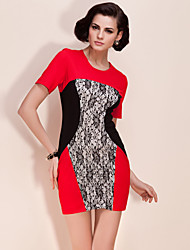 TS Color Block Lace Stitched Dress