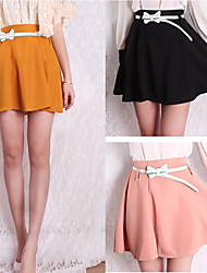 Pure Skirt With Belt
