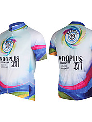 Kooplus-Mens Short Sleeve Clcying Jersey with 100% Polyester (Rainbow)