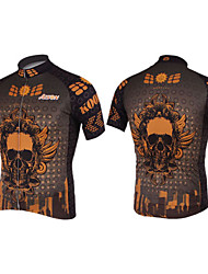 Kooplus-Mens Short Sleeve Clcying Jersey with 100% Polyester (Gold & Skulls)