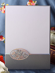 Simple Cutout Flower Wedding Invitation In Silver (Set of 50)