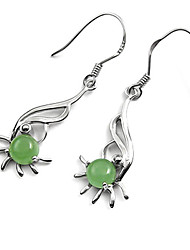 Jade Sterling Silver Sunshine Ladies' Earring