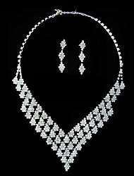 wunderschöne Strass glänzende Damen Halskette und Ohrringe Schmuck-Set (45 cm)