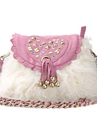 Retro Chain Tassel Nail Crystal Wool Cross-body Bag(23cm*6cm*21cm)