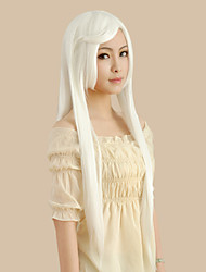 Cosplay Wigs Reborn! Superbia Squalo White Long Anime Cosplay Wigs 100 CM Heat Resistant Fiber Male