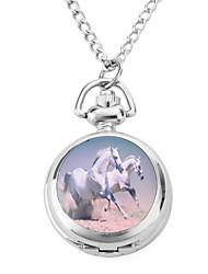 Damen Taschenuhr Quartz Band Vintage Silber Silber