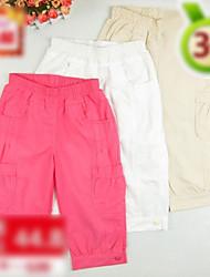Elastic Band Cotton Cropped Pants