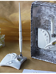 Calla Lily Wedding Pen Set In White Resin