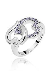 Австрия кристалл кольцо с платиновым напылением сплава - охватывает сердце (больше цветов)