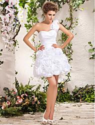 Lan Ting Ball Gown Plus Sizes Wedding Dress - Ivory Short/Mini One Shoulder Taffeta
