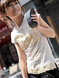 Gold Nail Lace Sweep Cotton T-shirt