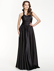 Floor-length Stretch Satin Bridesmaid Dress - Black Plus Sizes / Petite Sheath/Column Halter