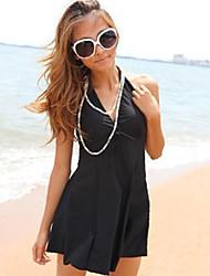preto sólido, um pedaço swimsuit