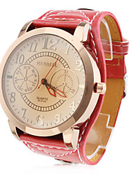 Fashionable Unisex's PU Analog Quartz Wrist Watch (Assorted Colors)