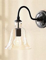 40W Nature Inspired Iron Wall Light with Transparent Glass Shade