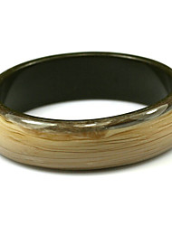 Ladies' Resin Round Bangles Classic Bracelet With Dark Wood Veins