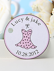 Personalized Favor Tag - Pink Dress (Set of 36)