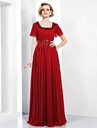 Mantel / Spalte scoop bodenlangen Chiffon Abendkleid mit Pailletten