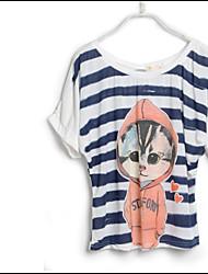 Loosen Printed Stripe T-shirt