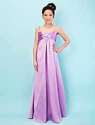 Floor-length Stretch Satin Junior Bridesmaid Dress A-line / Princess Sweetheart / Spaghetti Straps Empire withCrystal Detailing / Draping