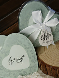 Frosted Damask Print Heart Photo Coasters (Set of 2)